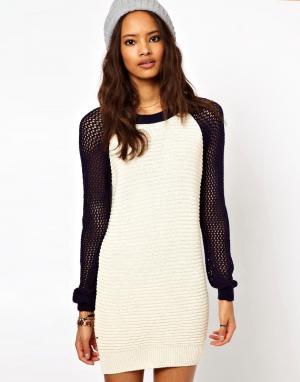 Платье-джемпер в спортивном стиле ASOS-Кремовый ASOS DESIGN