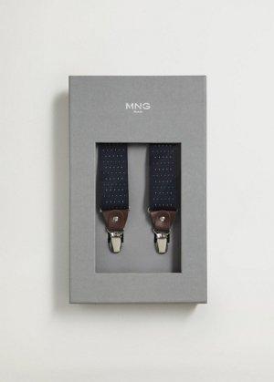 Эластичные подтяжки с кожаными деталями - Suspende Mango. Цвет: синий