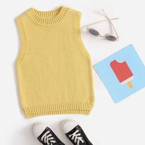 Одноцветный Повседневный Свитеры для девочек SHEIN. Цвет: жёлтые