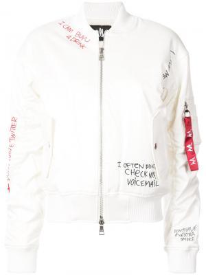 Skribble bomber jacket Haculla. Цвет: белый
