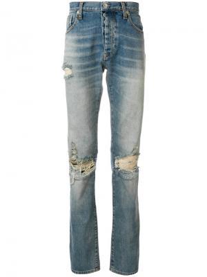 Удлиненные джинсы с рваными деталями Unravel Project