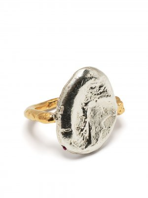 Two-tone textured-finish ring Alighieri. Цвет: серебристый