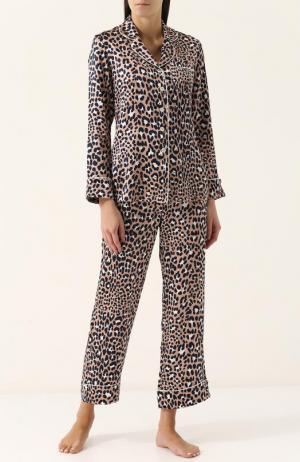 Шелковая пижама с леопардовым принтом Olivia Von Halle. Цвет: леопардовый