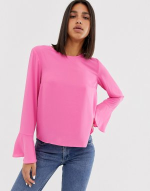 Блузка с рукавами клеш 2NDDAY Dawn 2nd Day. Цвет: розовый