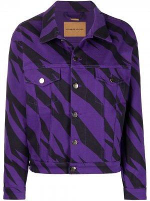 Джинсовая куртка с зебровым принтом Alexandre Vauthier. Цвет: фиолетовый