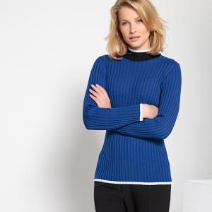 Пуловер из тонкого трикотажа с воротником-стойкой ANNE WEYBURN. Цвет: ярко-синий