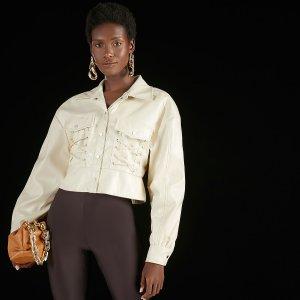 Куртка на шнуровке с карманом кожаным эффектом SHEIN. Цвет: бежевые