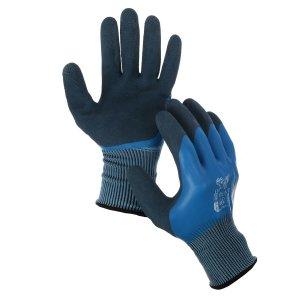 Перчатки нейлоновые, с двойным латексным обливом, размер 10, синие, greengo