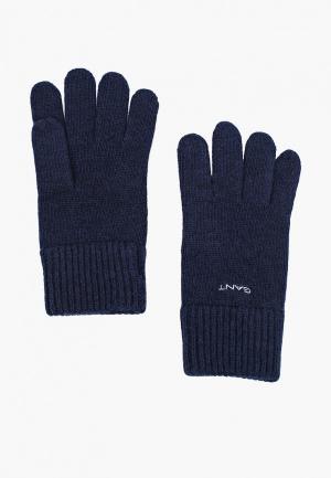 Перчатки Gant. Цвет: синий