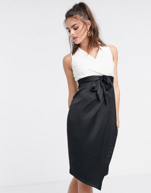 Черно-белое платье-футляр 2 в 1 с запахом -Мульти Closet London