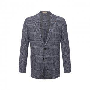 Пиджак из вискозы и шерсти Sartoria Latorre. Цвет: синий