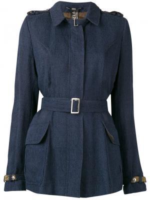 Куртка 2000-х годов с поясом Gianfranco Ferré Pre-Owned. Цвет: синий