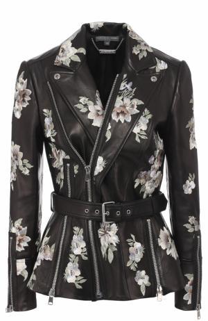 Приталенная кожаная куртка с принтом Alexander McQueen. Цвет: черный