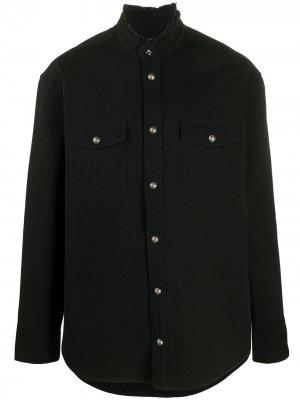 Джинсовая куртка-рубашка с логотипом Balmain. Цвет: черный
