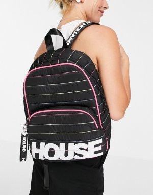 Черный рюкзак с радужной строчкой и логотипом -Черный цвет House of Holland