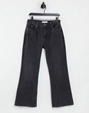 Расклешенные джинсы выбеленного черного цвета в стиле 90-х Two-Черный цвет Topshop