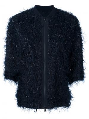 Feather texture bomber jacket Brunello Cucinelli. Цвет: синий