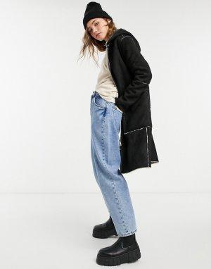 Двустороннее пальто черного и кремового цвета из искусственного меха замши с капюшоном -Многоцветный Goosecraft