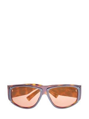 Очки с широкими дужками из легкого черепахового ацетата GIVENCHY (sunglasses). Цвет: коричневый