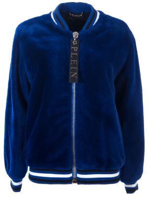 Шерстяная куртка-бомбер Philipp Plein. Цвет: синий
