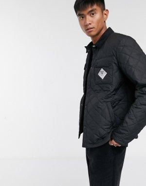 Черная стеганая куртка с вельветовым воротником -Черный Barbour Beacon