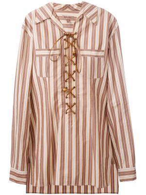 Полосатая рубашка-туника со шнуровкой Romeo Gigli Pre-Owned. Цвет: нейтральные цвета