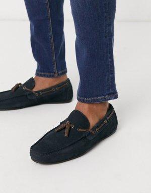 Темно-синие замшевые мокасины со шнуровкой -Темно-синий ASOS DESIGN