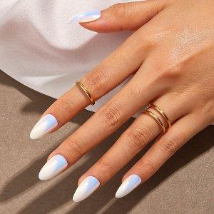 Однотонные накладные ногти 24шт SHEIN. Цвет: белые