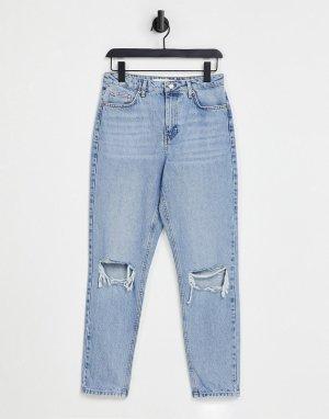 Выбеленные джинсы в винтажном стиле со рваной отделкой -Голубой Topshop