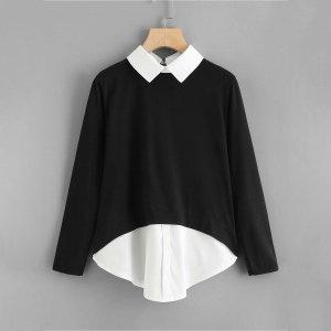Большая 2 в 1 блуза SHEIN. Цвет: чёрный
