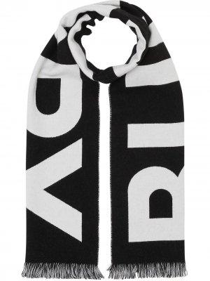 Жаккардовый шарф с логотипом Burberry. Цвет: черный