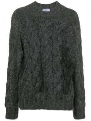 Cable knit jumper Prada. Цвет: серый