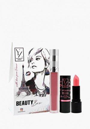 Набор для макияжа губ Yllozure Подарочный (бальзам ВВ-уход, Матовая жидкая помада Velvet ). Цвет: розовый