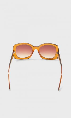 Квадратные Солнцезащитные Очки В Стиле Ретро Коричневый 103 Stradivarius. Цвет: коричневый