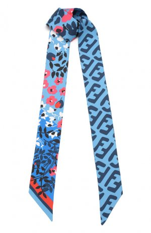 Шелковый шарф-бандо Fendi. Цвет: синий