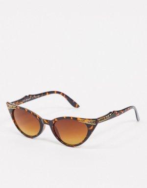 Черепаховые солнцезащитные очки кошачий глаз со стразами -Коричневый AJ Morgan