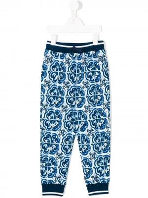 Брюки с принтом Majolica Dolce & Gabbana Kids. Цвет: синий