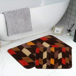 1шт коврик для ванной с геометрическим рисунком SHEIN. Цвет: многоцветный