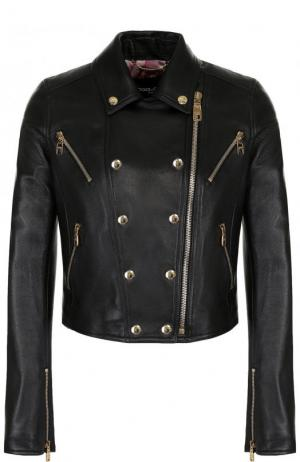 Укороченная кожаная куртка с косой молнией Dolce & Gabbana. Цвет: черный