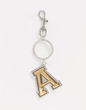 Золотистый/серебристый брелок для ключей с буквой A -Мульти ASOS DESIGN