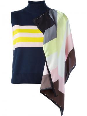 Майка с декоративным шарфом Emilio Pucci. Цвет: многоцветный