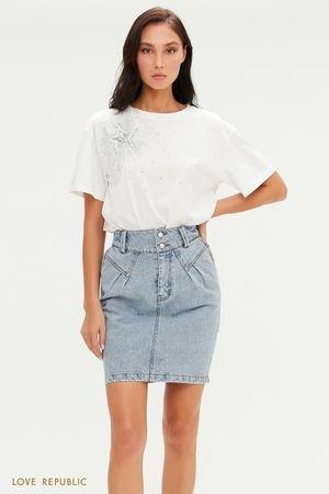 Джинсовая юбка мини с жемчужными пуговицами LOVE REPUBLIC