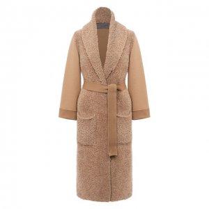 Шерстяное пальто D.Exterior. Цвет: бежевый