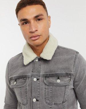 Серая джинсовая куртка зауженного кроя -Серый ASOS DESIGN