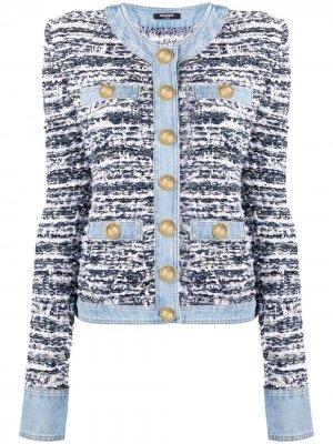 Джинсовая куртка на пуговицах Balmain. Цвет: белый