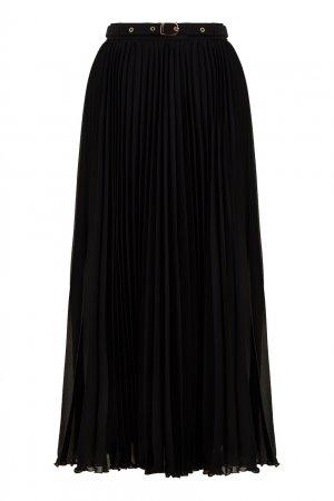 Черная юбка из плиссированного шифона LAROOM. Цвет: черный