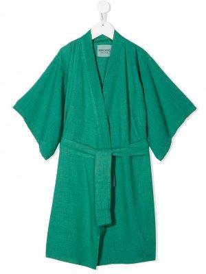 Кимоно с поясом и принтом Bobo Choses. Цвет: зеленый