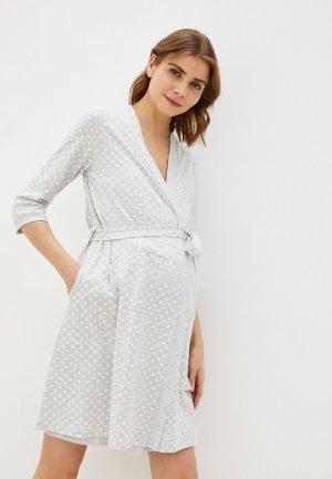 Халат и сорочка ночная Hunny mammy. Цвет: серый