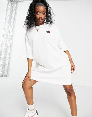 Белое платье с короткими рукавами и логотипом -Белый Tommy Jeans