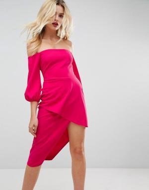 Платье миди с широким вырезом и ярусной юбкой запахом ASOS-Розовый ASOS DESIGN